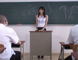 Hot sexy teacher Tsukasa Aoi arranges hardcore action gets bukkake picture 5