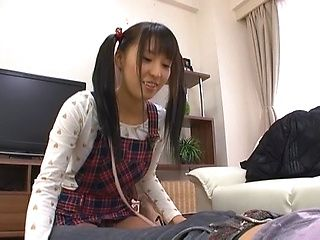 Pigtailed teen Yuuki Itano enjoying a tasty pov oral