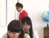 Yummy Japanese lesbian teens involve a classmate into a kinky game picture 11