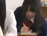 Yummy Japanese lesbian teens involve a classmate into a kinky game picture 1