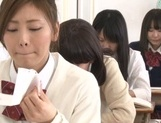Yummy Japanese lesbian teens involve a classmate into a kinky game picture 4