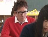 Yummy Japanese lesbian teens involve a classmate into a kinky game