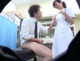 Horny Japanese nurse seen by secret spy cam picture 13