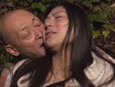 Horny Asian hottie gets fucked by two random horny guys outdoors