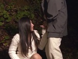 Horny Asian hottie gets fucked by two random horny guys outdoors picture 9
