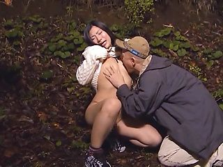 Horny Asian hottie gets fucked by two random horny guys outdoors