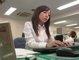 Kinky office milf Chika Haruno deepthroats and rides schlong picture 2