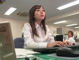 Kinky office milf Chika Haruno deepthroats and rides schlong picture 3