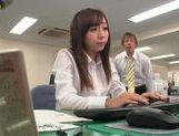 Kinky office milf Chika Haruno deepthroats and rides schlong picture 4