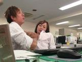 Kinky office milf Chika Haruno deepthroats and rides schlong picture 9