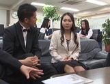 Pretty Asian office chicks get in some public sex at work picture 13