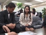 Pretty Asian office chicks get in some public sex at work picture 14