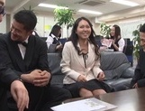 Pretty Asian office chicks get in some public sex at work picture 15