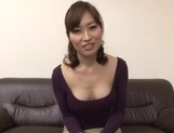 Hot Japanese office lady in fishnet stockings rides cock and eats cum picture 11