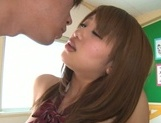 Busty Japanese teen angel Yui Hasebe enjoys every inch of cock picture 47