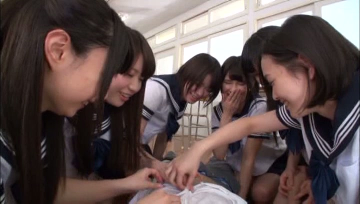 Pretty Japanese schoolgirl take off panties for a wild sex game