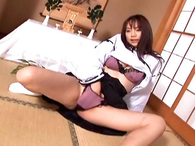 Lovely Asian amateur maid plays with her adorable pussy and anal