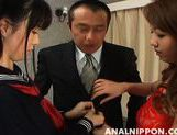 Saki and Miki Amazing Asian chicks enjoy anal sex picture 4