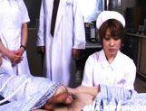 Horny nurses Riho Yu and Natsuki share cock and expose anal for sex