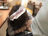 Yui Shimizu Cute Asian waitress gets a threesome