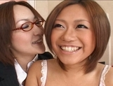 Yuu Aine and Japanese models have some lesbian fun picture 12