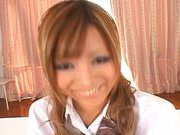 Japanese AV model is a schoolgirl who enjoys a rear fuck