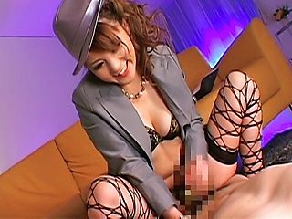 Asian model in stockings is sexy and enjoys rubbing cock
