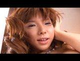 Serina Hayakaw Asian model is poking her hairy pussy with a dildo picture 14