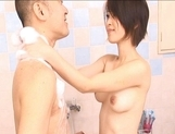Saki Ootsuka Asian babe enjoys a wet fucking in the shower