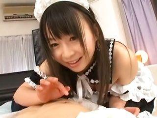 Chubby Japanese hottie Nozomi Hazuki makes amazing handwork
