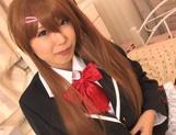 Horny pigtailed schoolgirl Chika Arimura sucks off cock on pov picture 14