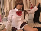 Horny pigtailed schoolgirl Chika Arimura sucks off cock on pov picture 15