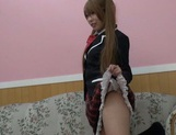Horny pigtailed schoolgirl Chika Arimura sucks off cock on pov picture 6