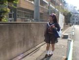 Mikan Amazing Asian schoolgirl enjoys her flashing fun picture 1