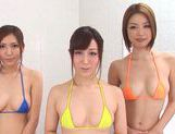 Classy Tokyo milfs soap and tease sexy guy in a shower