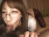 Girl Riko Honda with glasses gives perfect pov Asian blowjob picture 15