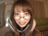 Girl Riko Honda with glasses gives perfect pov Asian blowjob