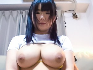 Busty Aimi Irie pleases with her huge tits