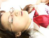 Busty schoolgirl in glasses Yui Shirasagi on Asian anal porn video picture 14