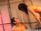 Mischievous Asian gal Maho Sawai stuffs anal of her boyfriend
