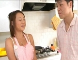 You Shiraishi naughty Asian housewife sucks cock in the kitchen