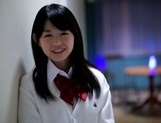 Hot Asian schoolgirl Kaho Mizuzaki has her first threesome debut picture 9