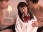 Hot Asian schoolgirl Kaho Mizuzaki has her first threesome debut