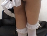 Myu Tsubaki Asian model is cute in her maid outfit