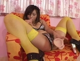 Lemon Mopmosaki Hot Asian model in stockings enjoys her big dildo picture 11