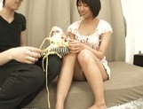 Innocent looking teen babe Riku Minato rides her partner's dick hard