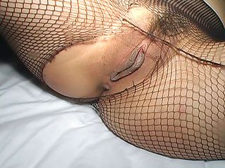 Yummy hottie Kaoruko demonstrates anal and pussy in fishnet pantyhose