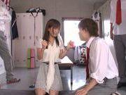 Shameless teacher Minami Kojima gives a blowjob lesson