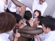 Serious gangbang at school with sleazy Nanami Kawakami