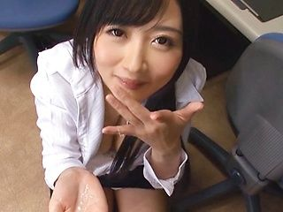 Amateur Japanese model in office clothes in POV fellatio